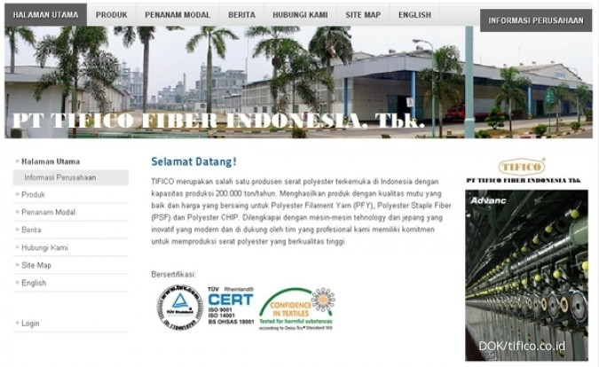 TFCO Tifico Fiber Indonesia (TFCO) bidik kenaikan penjualan 5% tahun ini