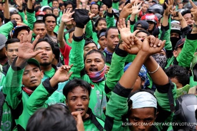 Ribuan supir Go-Jek di Medan protes tarif turun