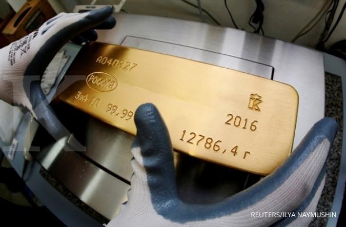 Harga emas bergerak datar menunggu rilis The Fed