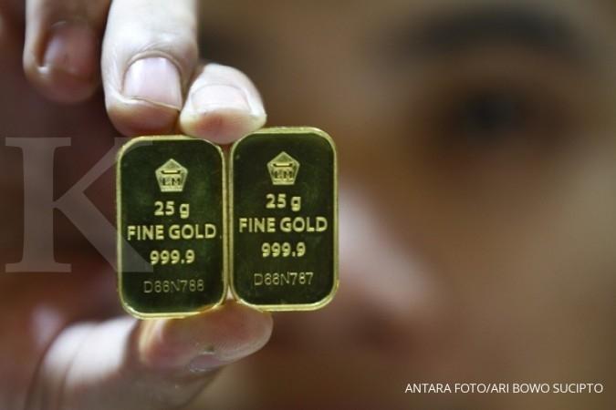 Harga emas terkoreksi outlook suku bunga AS