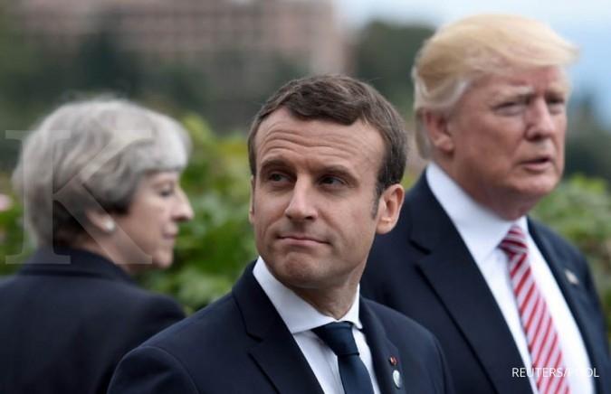 Aksi Macron kritik Trump lewat video jadi viral