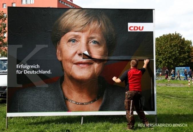 Merkel unggul, pergerakan euro masih tertekan