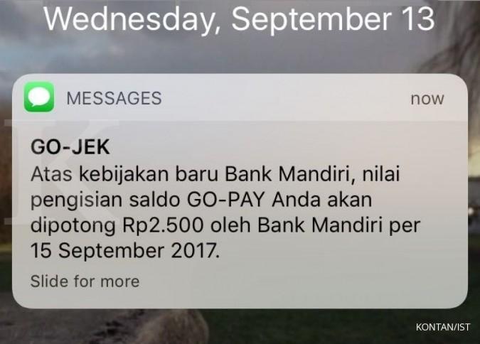 Ini konfirmasi Go-Jek SMS fee Mandiri di Go-Pay
