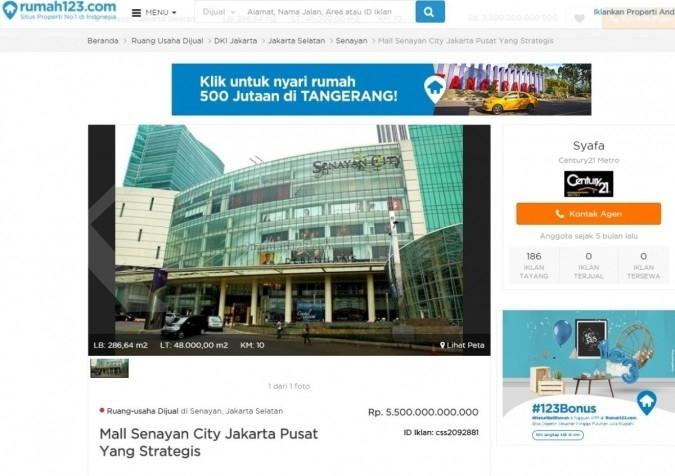 Senayan City akan pidanakan situs rumah123.com
