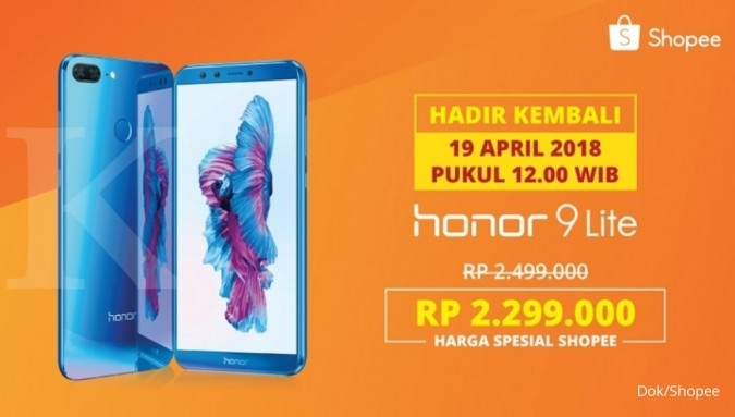 Shopee kembali gelar flash sale Honor 9 Lite