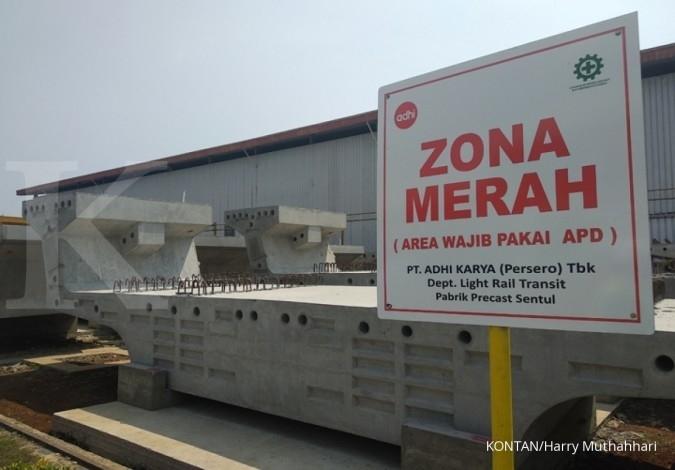 Tiga komponen penunjang proyek LRT Jabodetabek diproduksi Adhi Karya di Sentul