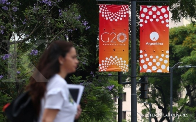 G20 summit banners are pictured ahead of the leaders' meeting in Buenos Aires