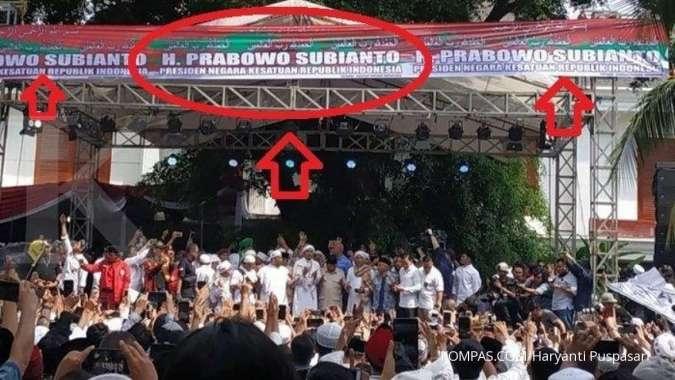 Tidak ada nama Sandiaga Uno di spanduk syukuran kemenangan Prabowo