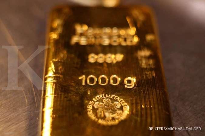 Harga emas bertahan di atas US$ 1.800 per ons troi berkat pernyataan pejabat The Fed