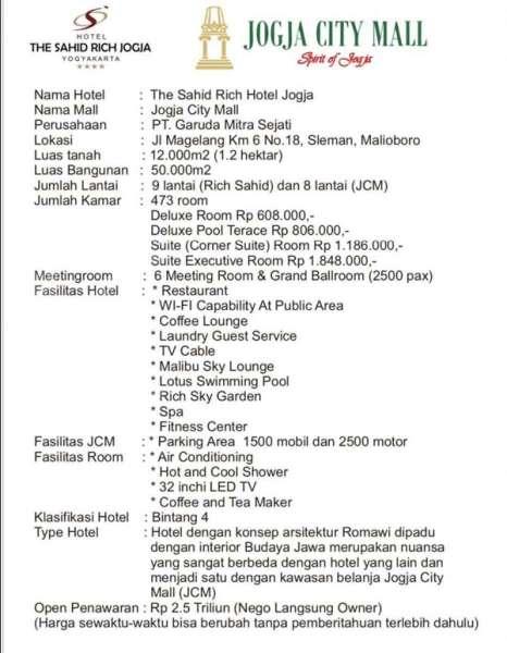 ILUSTRASI. Yang lagi viral, The Sahid Rich Jogja Dijual