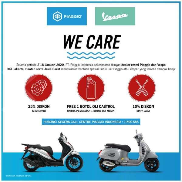 PT Piaggio Indonesia Luncurkan Program Peduli Banjir We Care bagi Pengguna Piaggio dan Vespa