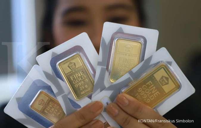 Harga emas Antam turun, potensi tekor 11,89% pembeli sebulan lalu