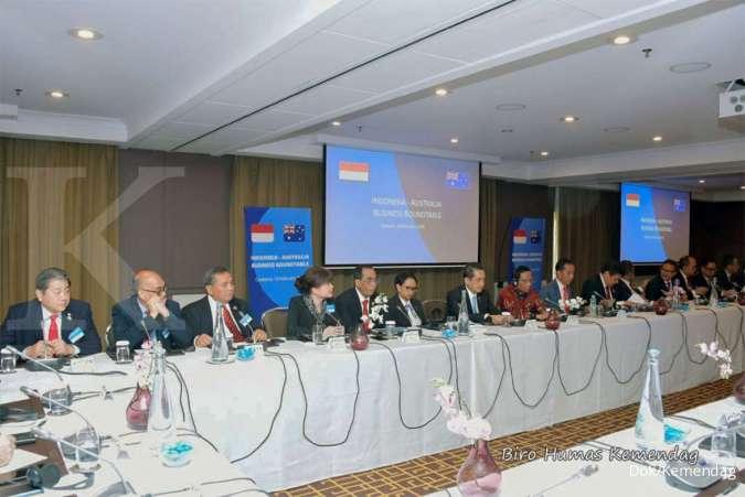 Forum Indonesia-Australia Business Roundtable di Canberra Room, Hotel Hyatt, Canberra, Australia pada Senin (10/2/2020).