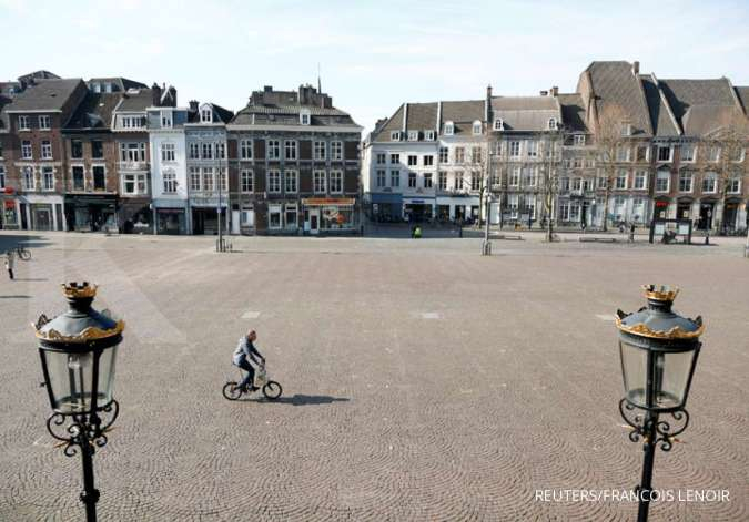 Suasana sepi kota Maastricht Belanda