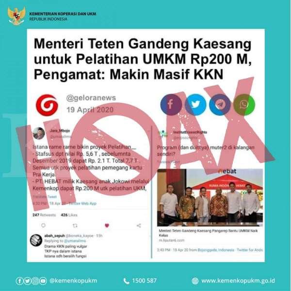 Postingan hoax soal Menkop dan UKM