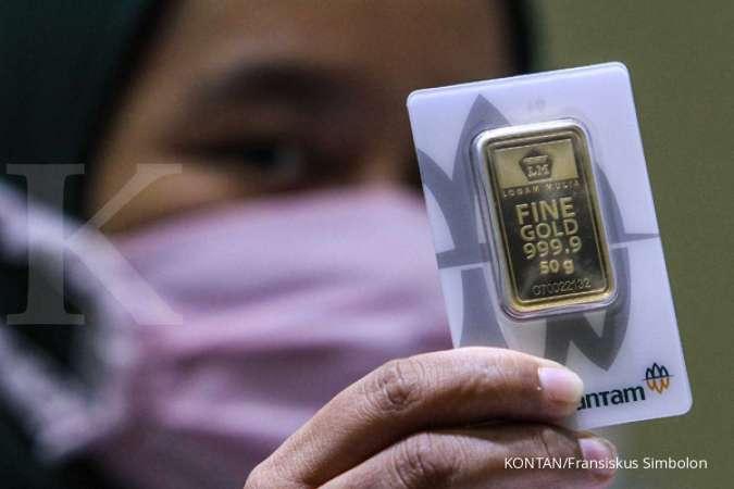 Harga emas 24 karat Antam hari ini turun Rp 9.000