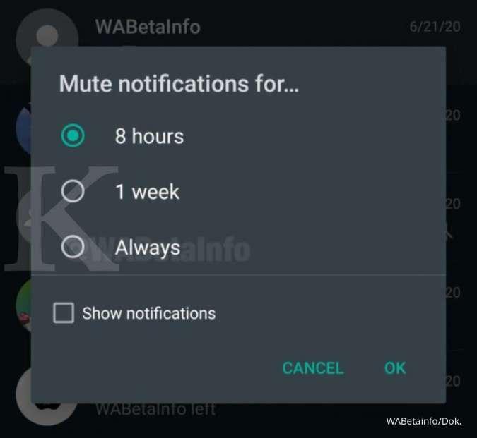 Aplikasi Whatsapp opsi mute selamanya, credit: WABetainfo