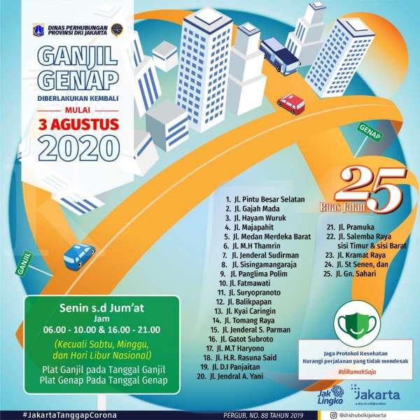 Kebijakan ganjil genap berlaku di 25 ruas jalan ibukota mulai 3 Agustus 2020
