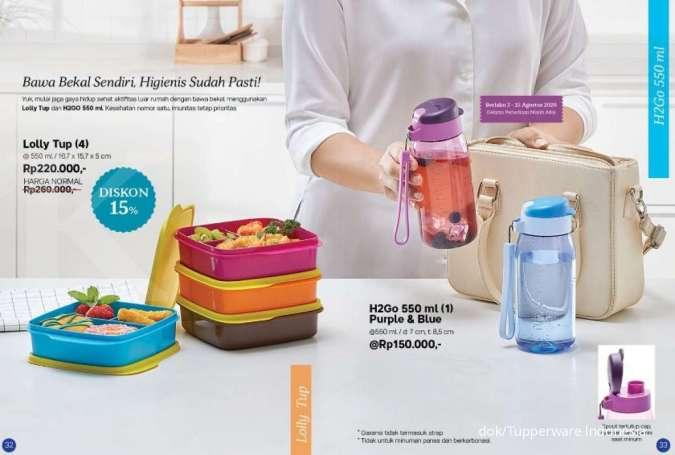 Hari terakhir katalog Promo Tupperware Agustus 2020, ada kotak makanan, botol minum