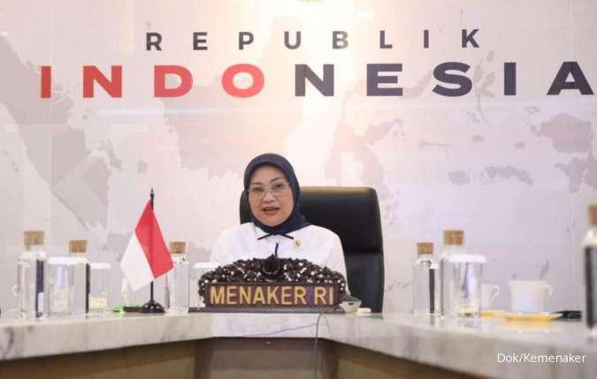 Menteri Ketenagakerjaan Ida Fauziyah dalam konferensi pers penyerahan data calon penerima subsidi gaji/upah, Selasa (8/9/2020).