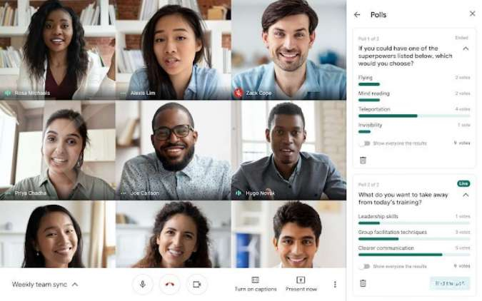 Tampilan fitur Google Meet - Polls