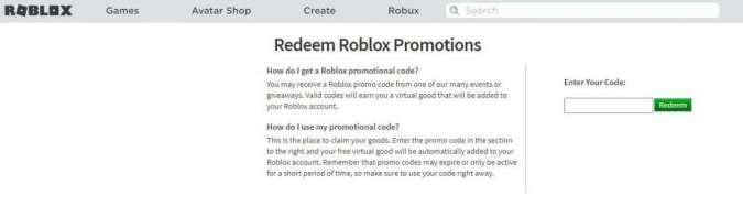 Aktivasi Promo Code Roblox