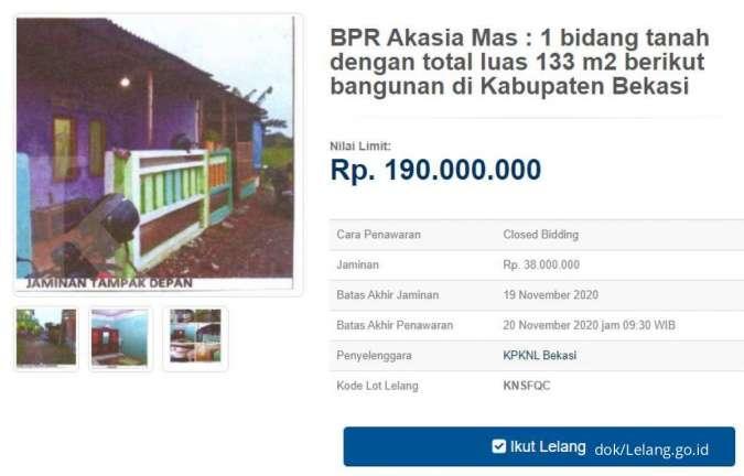 Lelang rumah sitaan bank, harga pembukaan Rp 100-an juta, lokasi di Bekasi