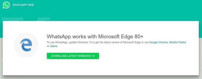 WhatsApp Web Microsoft Edge Legacy; Credit: WindowsLatest