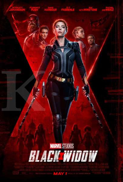 Aktor O.T Fagbenle (paling kanan) dalam poster film Black Widow dari Marvel Studios.