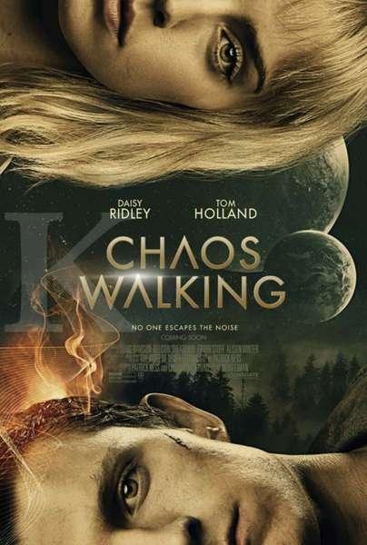 Daisy Ridley dan Tom Holland di poster film Chaos Walking.