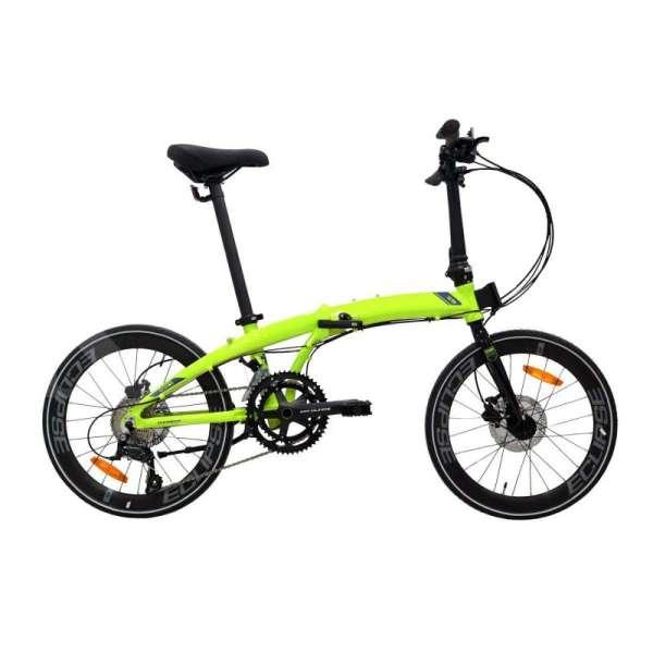 Warna mencolok, harga sepeda lipat Element Ecosmo Z9 451 lime green masih terjangkau