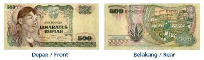 Uang rupiah nomimal Rp 500 emisi 1968