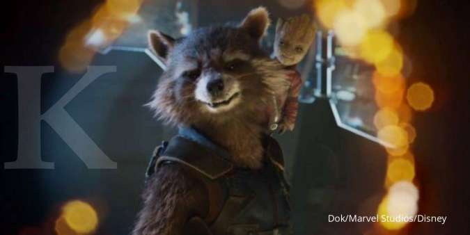 Rocket Racoon dan Groot di film Guardians of The Galaxy dari Marvel.