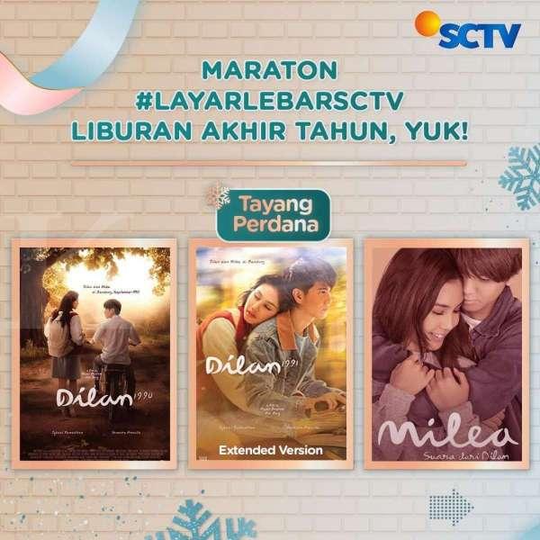Film Indonesia Dilan 1990 hingga Milea: Suara dari Dilan tayang 31 Desember di SCTV.