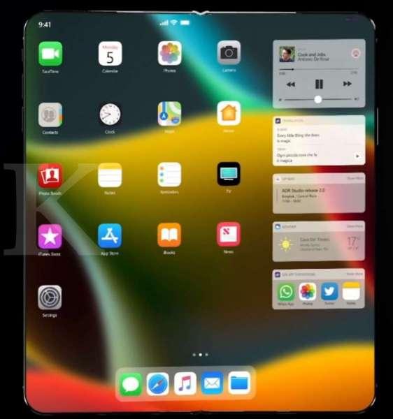 Konsep tampilan iPhone lipat