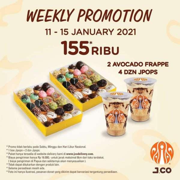 Promo J.CO periode 11-15 Januari 2021, paket hemat donat dan frappe!