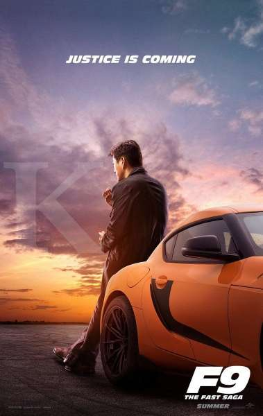 Sung Kang pemeran Han di poster film Fast and Furious 9.