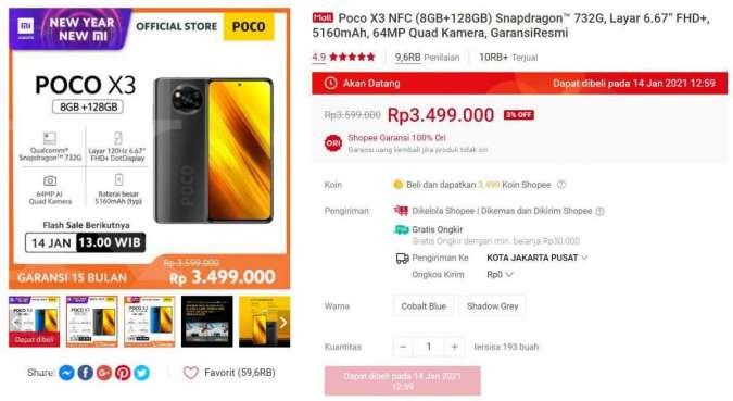 Flash sale POCO X3 NFC di Shopee