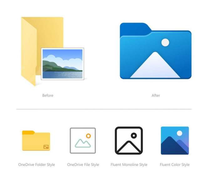 Tampilan icon baru di File Explorer Windows 10